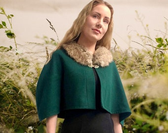 Cape Amy Vintage Style Pure Wool and Luxury Faux Fur Capelet Green Wool Pagan Goddess Witch Druid *Available NOW* Avalon Cloaks