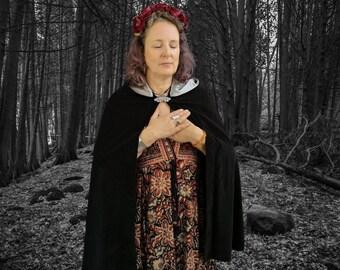 Goddess Cerridwen Black Velvet Cape Shorter Length Ready Now Ceremony Priestess Witch Cotton Velvet and Silver Satin Cloak Avalon Cloaks