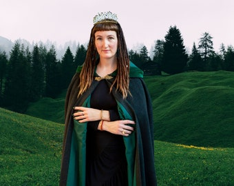 Green Woman Cloak Pure Wool Fully Lined Made to Measure Druid Pagan Witch Goddess Priestess Beltane Avalon Cloaks Celebrant