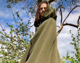 Wool Cloak Mens Women's Essential  Made to Measure Sage Green Black Brown Blue Cape Druid Pagan Shaman Greenman Avalon Cloaks Celebrant