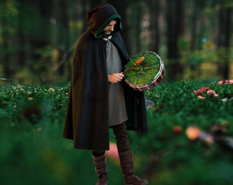 Green Man Cloak Pure Wool Fully Lined Made to Measure for Men or Women Druid Pagan Shaman Witch Wizard Goddess Cape Priestess Priest