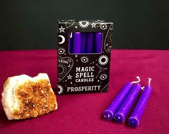 "12 Beautiful Purple ""Prosperity"" Spell Candles, Avalon Cloaks, Candle Magic, Witch Pagan Goddess Glastonbury"