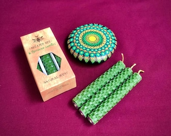Spell Candles Beeswax Green Candle Magic Wish Witch Pagan Goddess Glastonbury Avalon Cloaks