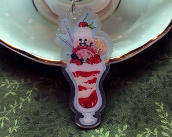 "Pocket Pandas® 2.5"" Acrylic Charm - Strawberry Parfait"