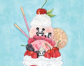 Pocket Pandas™ - Strawberry Parfait - 8.5x11 Print