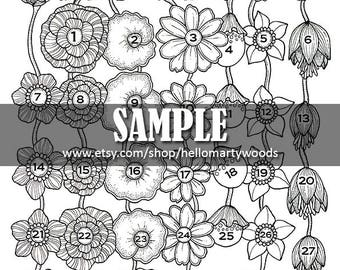 PDF Version Instant Download Monthly Calendar Coloring Page
