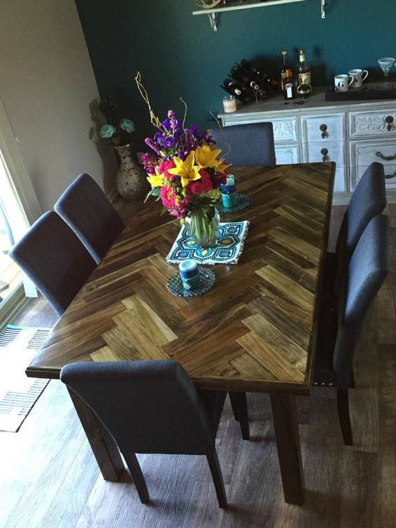 Herringbone dining table / dinner table / kitchen table/ Chevron table /  custom size table