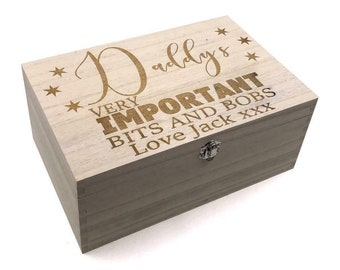 abdf8ea42069 Daddy's Personalised Large wooden Bits and Bobs Keepsake Box Gift