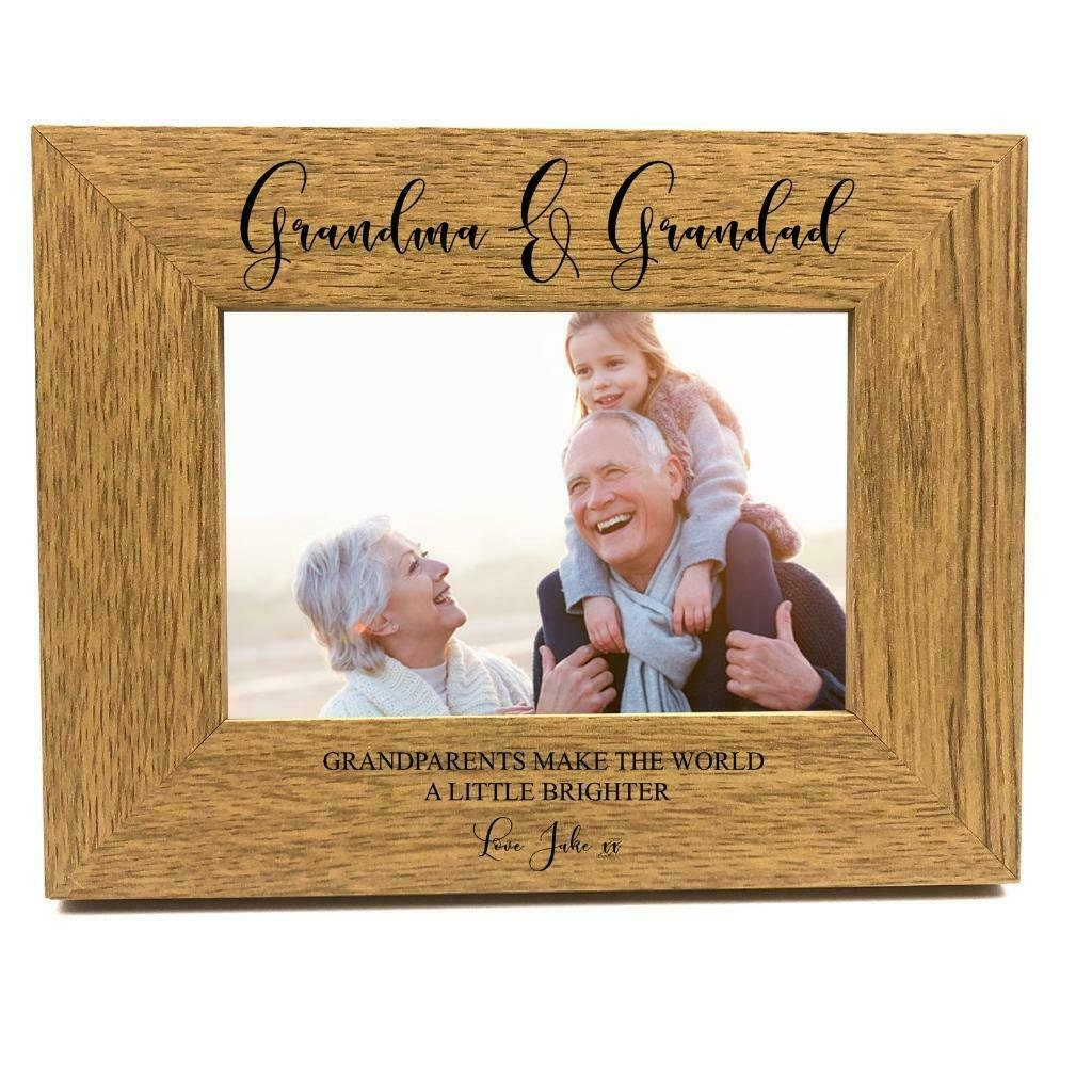 5 x 7 Inch ukgiftstoreonline Personalised First Grandchild Wooden Photo Frame Gift