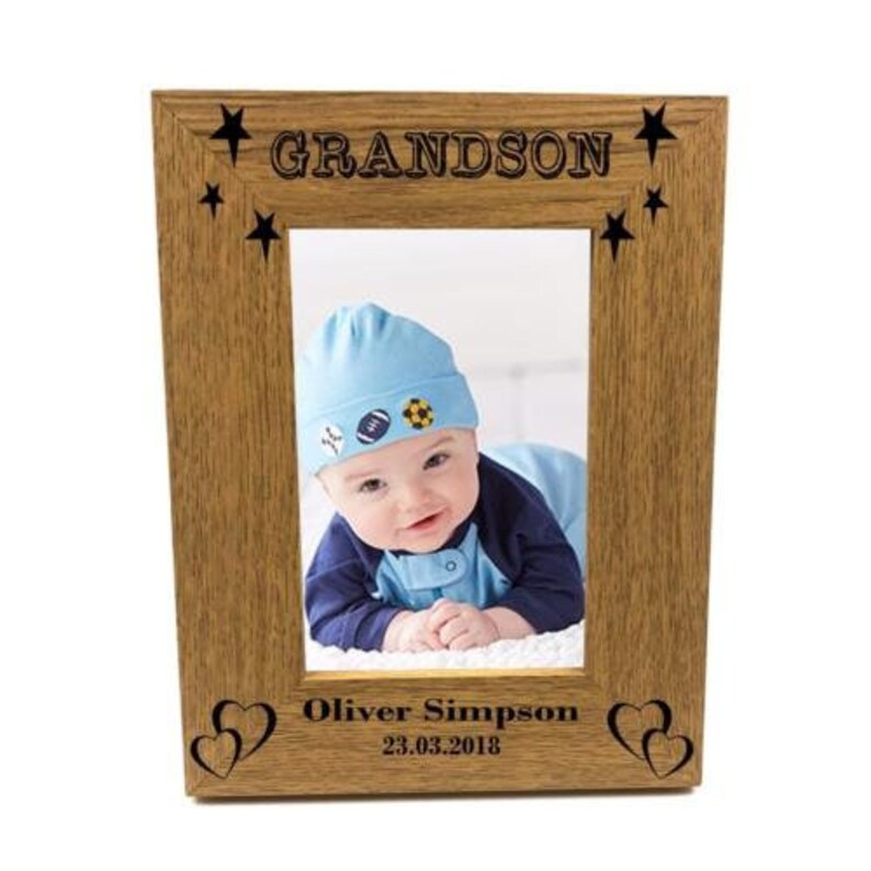 Personalised Grandson Portrait Wooden Photo Frame Gift