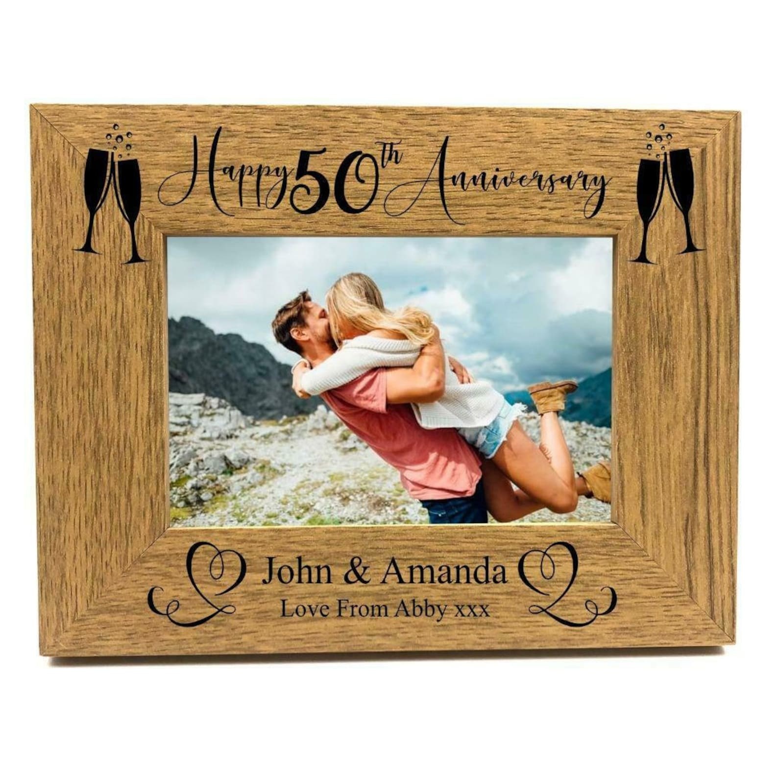 50th Wedding Anniversary Wooden Photo Frame