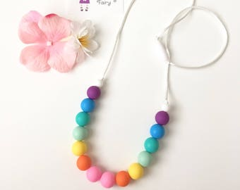 Rainbow Silicone Teething Necklace, Silicone Beads Nursing Necklace, Mommy Necklace, Silicone Beaded Necklace, Silicone Teething Necklace