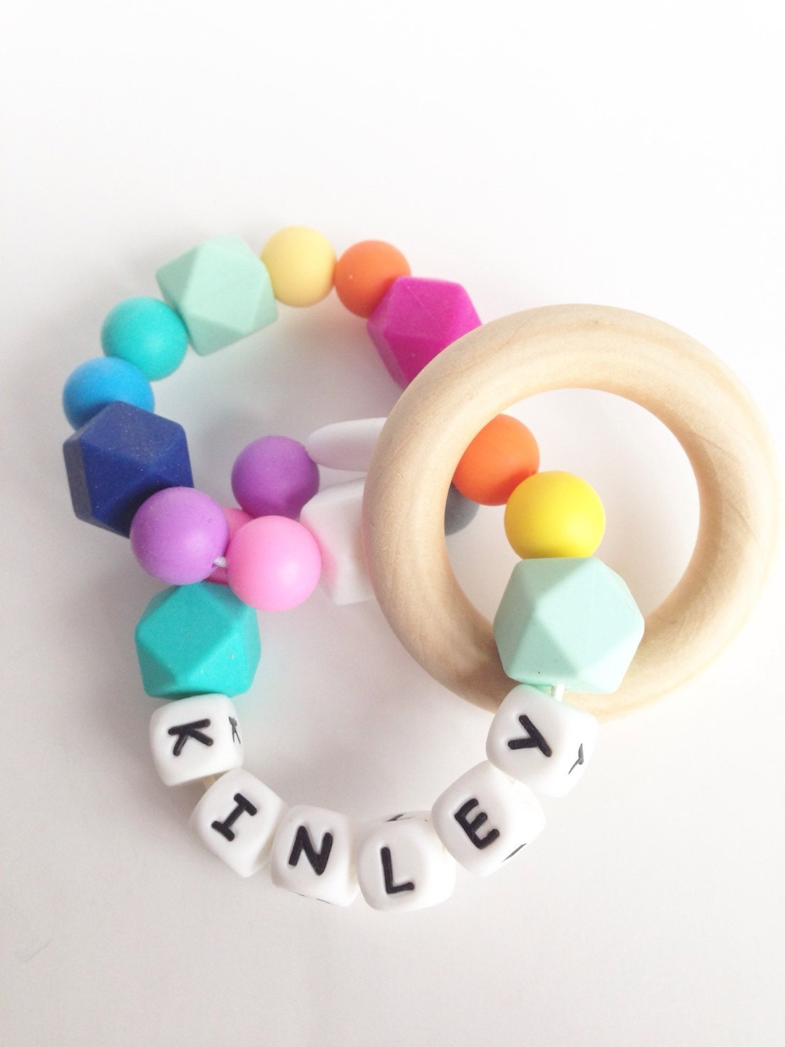 Personalized Double Ring Teether Silicone Teething Ring Etsy