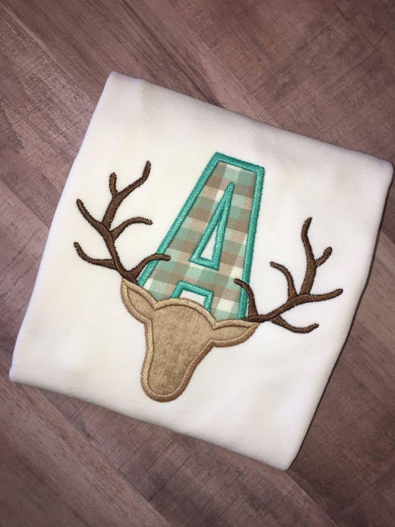 Boys Initial Deer Antlers Monogrammed and Appliqu\u00e9d Onesie or T-Shirt