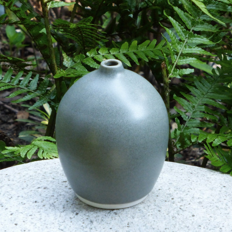 Small gray matte porcelain bud vase image 1