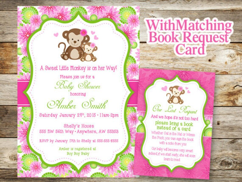 Monkey Baby Shower Invitation Girl Book Request Printable