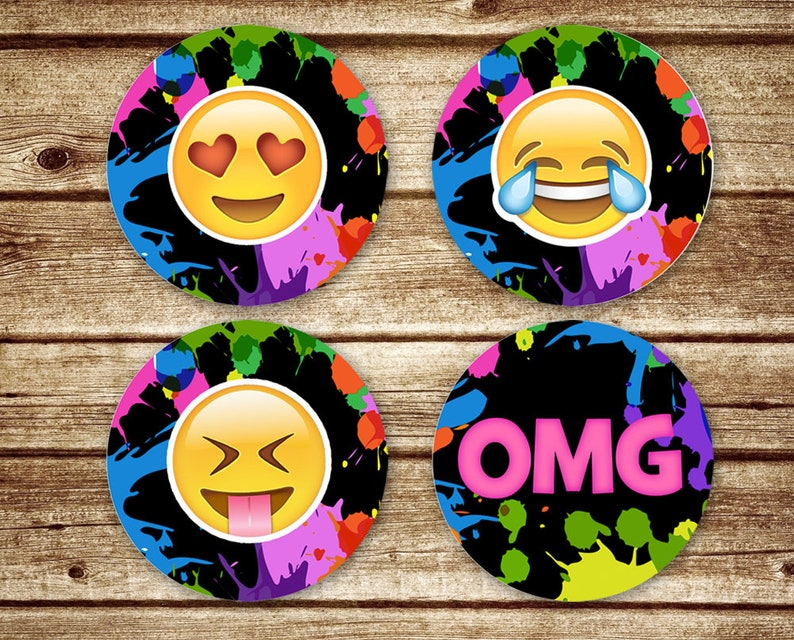 Emoji Art Birthday Party Favor Tags Cupcake Toppers Or Stickers