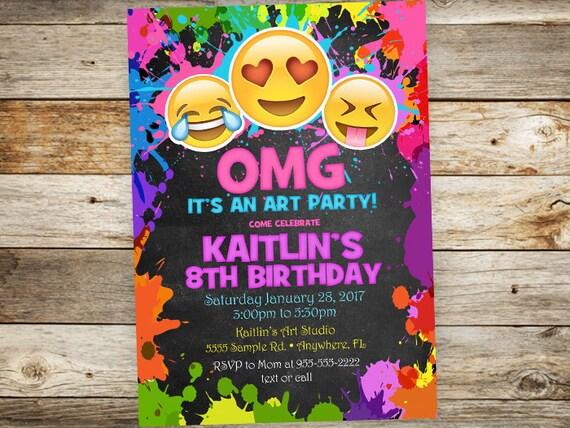 Emoji Art Birthday Invitation Painting Party