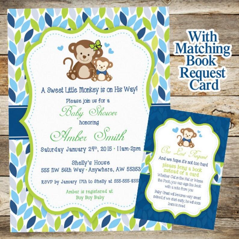 Monkey Baby Shower Invitation Boy Jungle Invite Book Request Card Printable