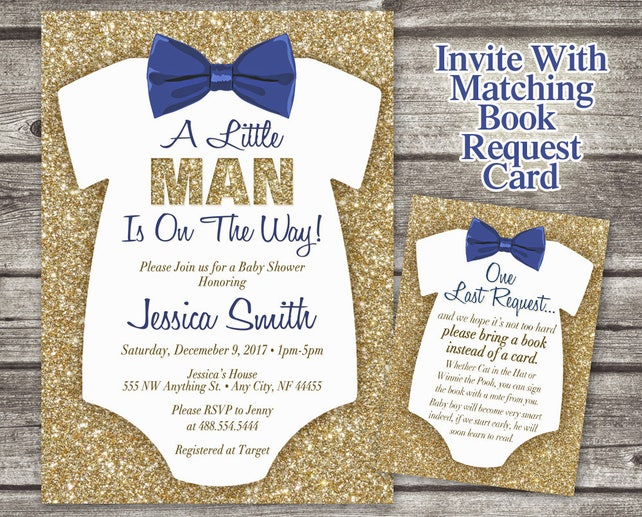 Bowtie Onesie Baby Shower Invitation - Glitter Invitation - Little Man Baby Shower Invite - Bowtie Invitation -Gold Glitter - Printable