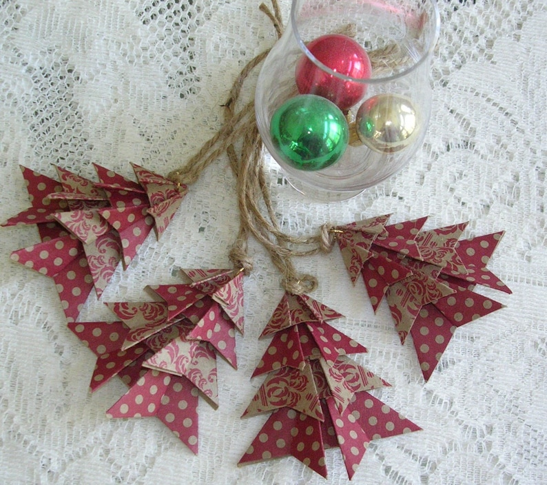 Rustic Kraft Origami Christmas Ornaments Handmade Origami Christmas Tags Set Of 4 Holiday Tags Package Decorations