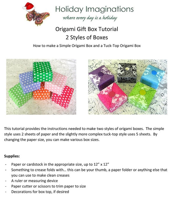 Origami Box Tutorial Christmas Gift Box Instant Download Etsy