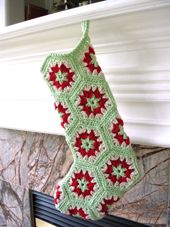 Häkeln Sie Weihnachts-Strumpf Oma Sechseck Stil gehäkelte