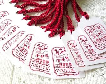 Christmas Tags Handmade - Wishing You A Merry Christmas Holiday Tags - Double Layer Gift Tags - Set of 10