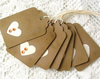 Gift Tags - Rustic Heart Gift Tags - Scrapbooking Tags - Rhinestone Accent Tags - Favor Tags - Set of 8 Kraft Cardstock Tags