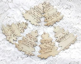 Christmas Gift Tags - Sheet Music Christmas Tags Handmade - Rustic Christmas Tree Gift Tags - Set of 6 Double Layer Holiday Tags