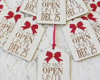Christmas Gift Tags - Do Not Open Christmas Tags - Rustic Gift Tags - Set of 10 Double Layer Tags - Christmas Gift Wrap