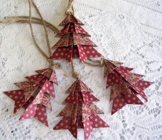 Origami Christmas Ornaments.Rustic Kraft Origami Christmas Ornaments Handmade Origami Christmas Tags Set Of 4 Holiday Tags Package Decorations