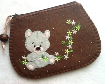 Purse with teddy bear, handmade.