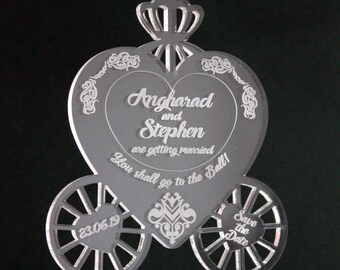 PERSONALISED Cinderella Wedding carriage clear acrylic hanging save the dates