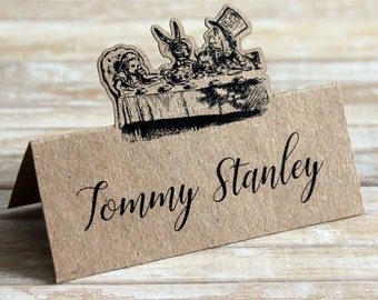 Alice in Wonderland Mad Hatter's Tea Party Personalised Pop Up Table Place Name Tent Cards