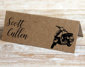 Classic Vespa Scooter Personalised Wedding & Party Table Place Name Tent Cards