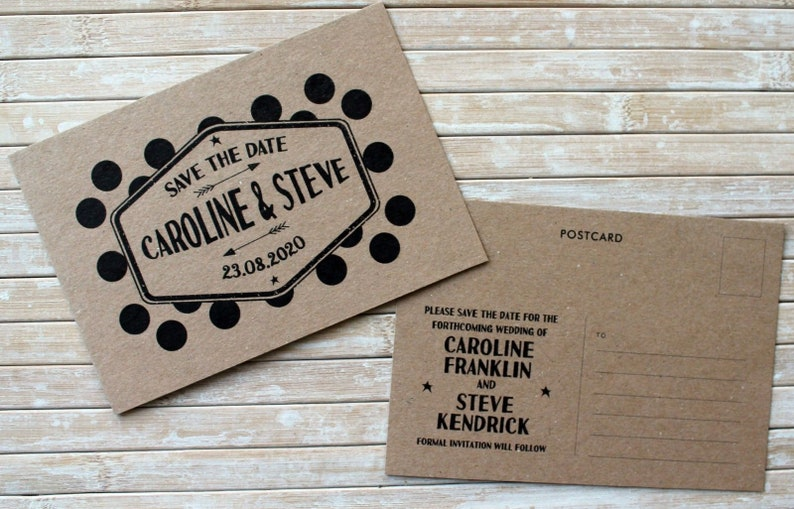 Personalised Save the Date Postcard Retro polka pot design