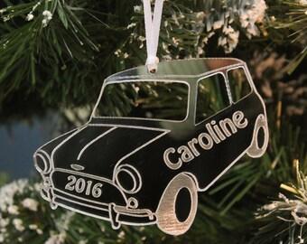 Personalised Classic MINI COOPER 2021 Christmas Tree Decoration & Gift Bag