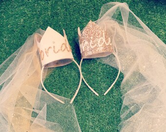 Bride Crown with Veil, Classy Hen Party Accessories, Stylish Hen Do Ideas