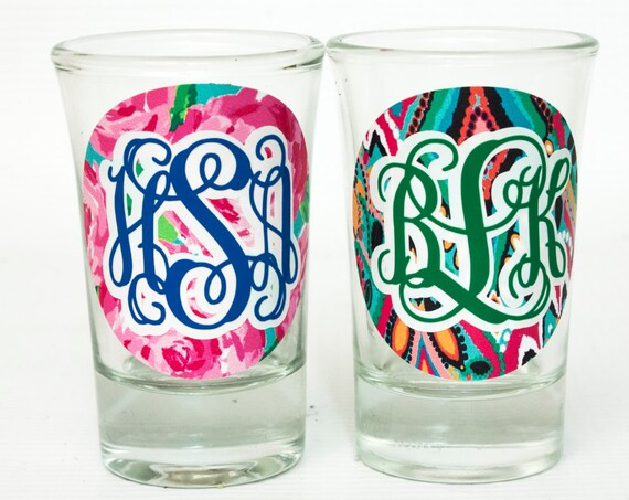 Monogrammed Shot Glass, Lilly Pulitzer glass, Bridesmaid shot glasses, Maid of Honor, bachelorette party, girl's trip, girl's weekend