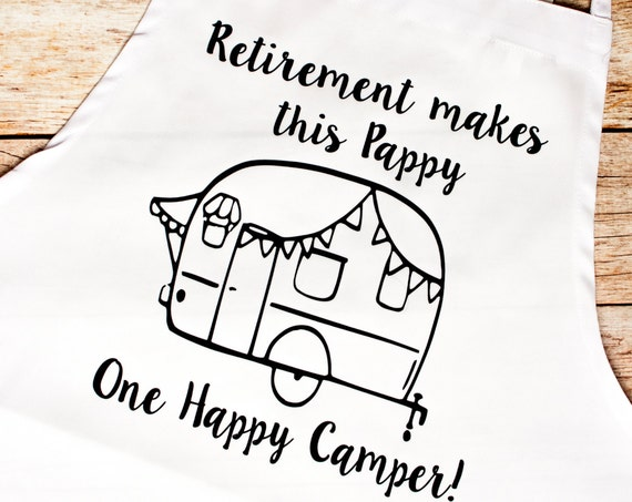 BBQ Apron, Retirement Gift,Camper,Camping,5th wheel,Gift for Him,Retire,Bar-b-que pit,summer, outdoors, cook,chef,lake,trailer,over the hill