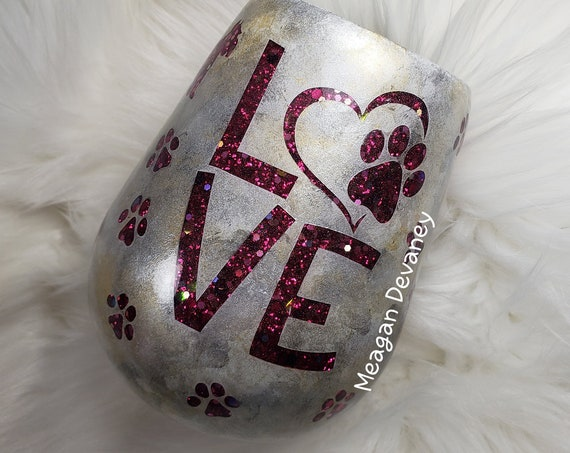 Pet Love Paw print Cat Dog Rescue Wine Glass, Hand Painted and Glittered Stainless Steel Tumbler/Cup/Yeti/Ozark, Sparkle, Christmas