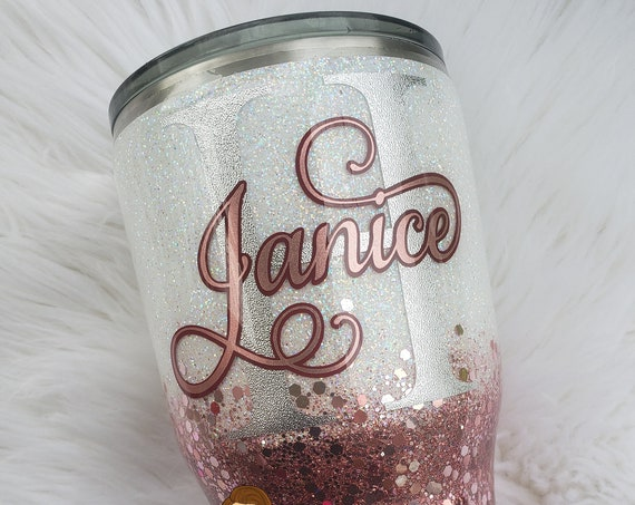 Rose Gold/White Glittered Stainless Steel Tumbler/Cup/Yeti/Ozark/Hogg, Sparkle Cup, Mothers Day Christmas Birthday Wedding Engagement Gift