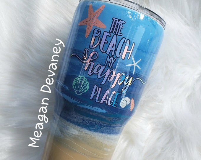 Personalized Beach Tumbler,Stainless Steel Tumbler/Cup/Yeti/Ozark, Painted Cup, monogram, Wedding, Engagement, Bride, Bridesmaid