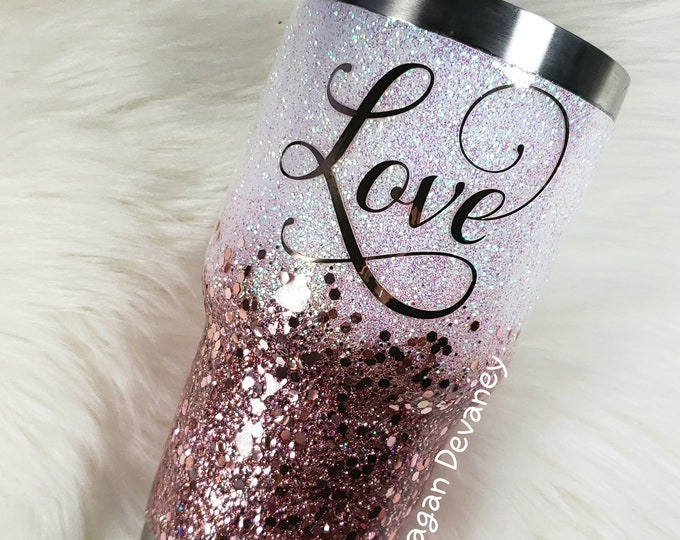 Rose Gold and White Glittered Stainless Steel Tumbler/Cup/Yeti/Ozark, Sparkle Cup, Fall Autumn Christmas Birthday Wedding Engagement Love