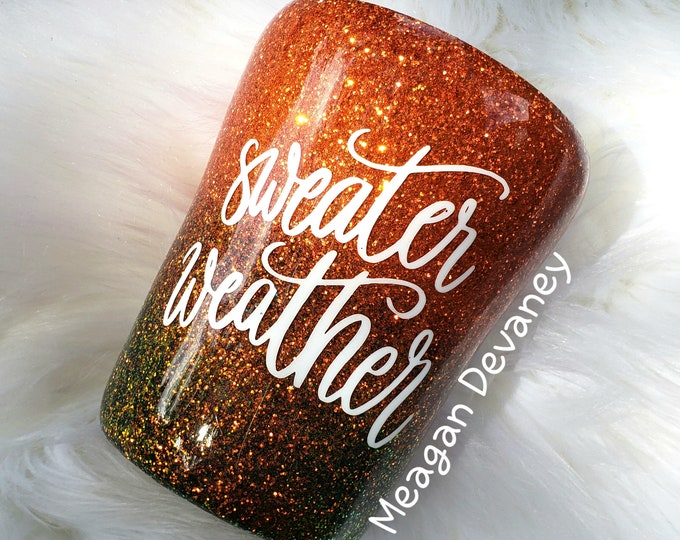 Autumn Fall Sweater Weather Thanksgiving Halloween Glittered Stainless Steel Tumbler/Cup/Yeti/Ozark, Sparkle Cup,Leaves Pumpkins Hayride