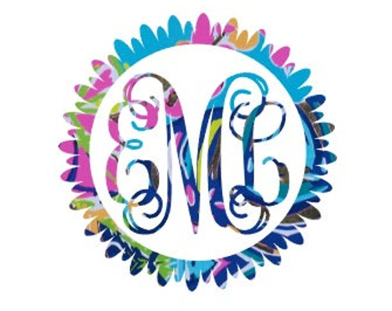 Free Shipping-Flower Monogram Decal, Lilly Pulitzer inspired monogrammed decal sticker, Personalized,Yeti, Laptop,Monogram Sticker