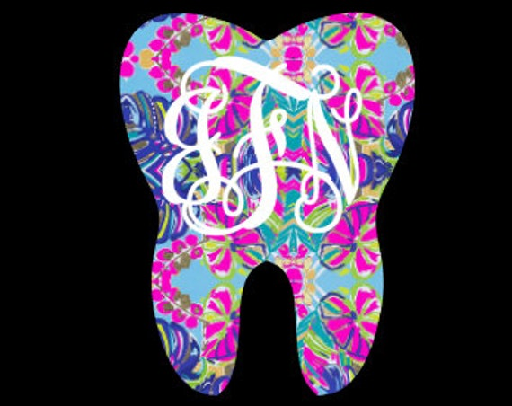 Free Shipping-Exotic Garden Lilly Pulitzer Inspired Decal, Dental Assistant Tooth, Hygienist Vine, RTIC Corkcicle Personalized, Yeti, Laptop