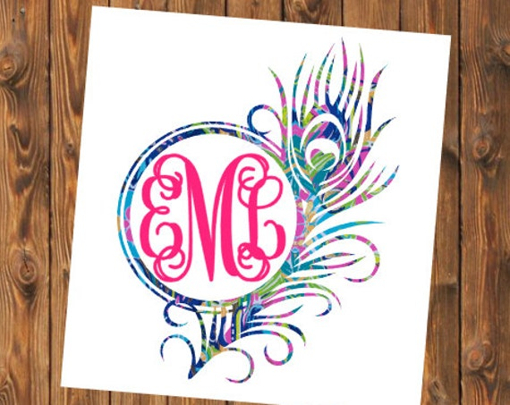 Free Shipping-Exotic Garden Monogram Decal,Peacock Monogram,Lilly Pulitzer,Feather Decal, Yeti RTIC SIC Corkcicle, Laptop, Sticker