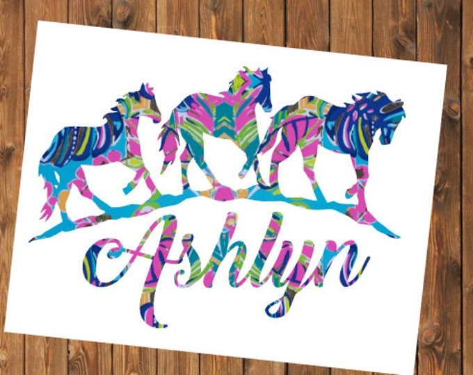 Free Shipping-Exotic Garden Lilly Pulitzer Decal, Wild Horses Decal, Lucky Horseshoe, Cowgirl Cowboy, Yeti, Laptop, Sticker, Last Name